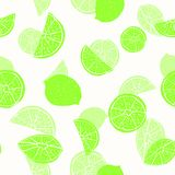 Neon green hand drawn citrus fruit silhouettes with transparent layering effect on white. Seamless vector pattern. Great for home decor, fabric, stationery stock illustration