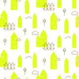 Neon green houses baby fabric seamless vector pattern. Scandinavian style cute buildings with line gold details for kid apparel, bed linen and clothing royalty free illustration