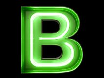 Neon green light alphabet character B font. Neon tube letters glow effect on black background. 3d rendering stock illustration