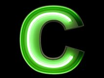 Neon green light alphabet character C font. Neon tube letters glow effect on black background. 3d rendering stock illustration