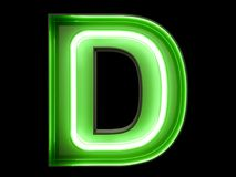 Neon green light alphabet character D font. Neon tube letters glow effect on black background. 3d rendering royalty free illustration