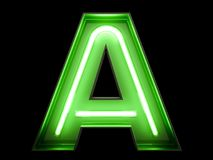 Neon green light alphabet character A font. Neon tube letters glow effect on black background. 3d rendering vector illustration