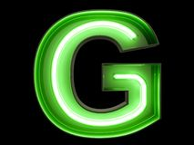 Neon green light alphabet character G font. Neon tube letters glow effect on black background. 3d rendering stock illustration