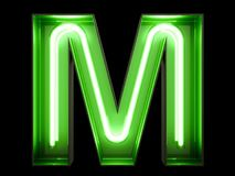Neon green light alphabet character M font. Neon tube letters glow effect on black background. 3d rendering stock illustration