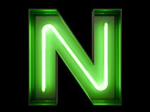 Neon green light alphabet character N font. Neon tube letters glow effect on black background. 3d rendering vector illustration