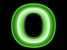 Neon green light alphabet character O font. Neon tube letters glow effect on black background. 3d rendering stock illustration