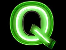 Neon green light alphabet character Q font. Neon tube letters glow effect on black background. 3d rendering vector illustration