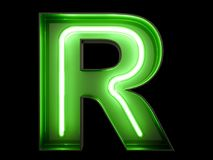 Neon green light alphabet character R font. Neon tube letters glow effect on black background. 3d rendering royalty free illustration