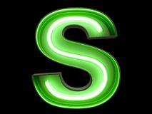 Neon green light alphabet character S font. Neon tube letters glow effect on black background. 3d rendering stock illustration