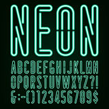 Neon Green Light Alphabet Vector Font. Royalty Free Stock Photos