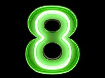 Neon green light digit alphabet character 8 eight font. Neon green light glowing digit alphabet character 8 eight font. Front view illuminated number eight stock illustration
