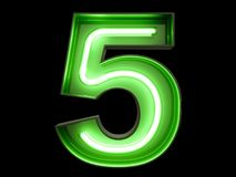 Neon green light digit alphabet character 5 five font. Neon green light glowing digit alphabet character 5 five font. Front view illuminated number 5 symbol on Royalty Free Stock Image
