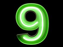 Neon green light digit alphabet character 9 nine font. Neon green light glowing digit alphabet character 9 nine font. Front view illuminated number 0 symbol on stock illustration