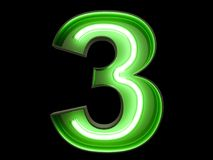 Neon green light digit alphabet character 3 three font. Neon green light glowing digit alphabet character 3 three font. Front view illuminated number 3 symbol on stock illustration