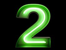 Neon green light digit alphabet character 2 two font. Neon green light glowing digit alphabet character 2 two font. Front view illuminated number 2 symbol on royalty free illustration