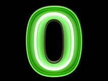 Neon green light digit alphabet character 0 zero null font. Neon green light glowing digit alphabet character 0 zero null font. Front view illuminated number 0 stock illustration