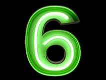 Neon green light digit alphabet character 6 six font. Neon green light glowing digit alphabet character 6 six font. Front view illuminated number 0 symbol on royalty free illustration