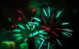 Fireworks Neon green and pink colour stock images
