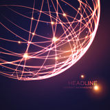 Neon grid globe background. Vector illustration Stock Photography