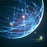 Neon grid globe background. Vector illustration Royalty Free Stock Photos
