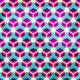 Neon grid seamless pattern with grunge effect Stock Photography