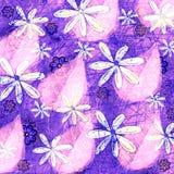 Neon Grunge Bloemen en het Grafische Ontwerp van het Bladpatroon Royalty-vrije Stock Afbeeldingen
