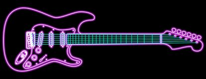 Neon Guitar. Illustration of a neon electric guitar.  Vector format available.  Room for copy Royalty Free Stock Photo
