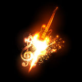 Neon guitar fire design. Easy all editable Royalty Free Stock Images