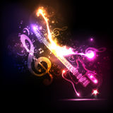 Neon guitar grunge. Music party royalty free illustration