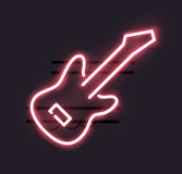 Neon guitar sign Stock Photo