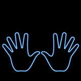 Neon hand. Abstract neon hand in a night scene royalty free illustration