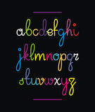 Neon hand drawn font. Vector alphabet Stock Photos