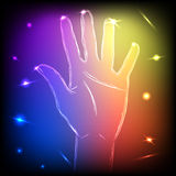 Neon Hand Five Royalty Free Stock Image