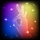 Neon Hand OK Royalty Free Stock Photos