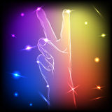 Neon Hand Peace Stock Images