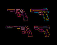 Neon Handgun sign. Pistols and Revolvers. Isolated neon silhouettes on black background royalty free illustration
