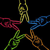 Neon Hands in Peace Sign Stock Image