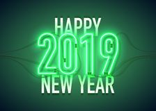 Neon 2019 happy new year green. Happy New Year with neon sign 2019 on dark background. Christmas related ornaments objects on color background. Greeting Card stock illustration