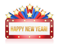 Neon happy new year sign illustration design Royalty Free Stock Images