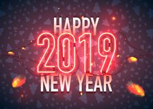 Neon 2019 happy new year sparks. Happy New Year with neon sign 2019 on dark background. Christmas related ornaments objects on color background. Greeting Card vector illustration