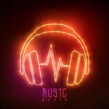 Neon headphone for music. Royalty Free Stock Photos