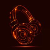 Neon Headphones, grunge music Royalty Free Stock Images