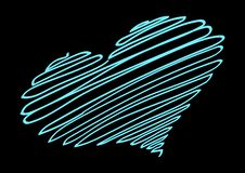 Neon Heart.Neon thread forms the silhouette of the heart. stock illustration
