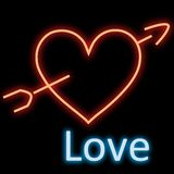 Neon Heart Arrow Stock Photography