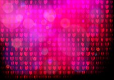 Neon heart background. Disco party purple pink pattern. Valentines day concept Royalty Free Stock Image