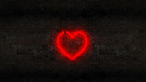 Neon heart on the brick wall. Design made in 3D Stock Photo