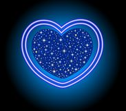 Neon Heart with center heart and stars Stock Images
