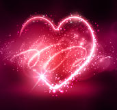 Neon heart on the dark Royalty Free Stock Image