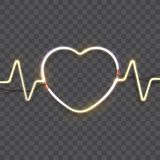 Neon heart frame. Neon sign. Heart with puls lines of a bright glow. Vector illustration Royalty Free Stock Photos