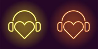 Neon Heart with headphones in Yellow and Orange color. Vector illustration of DJ heart icon with headphones in glowing neon style. Graphic element for stock illustration